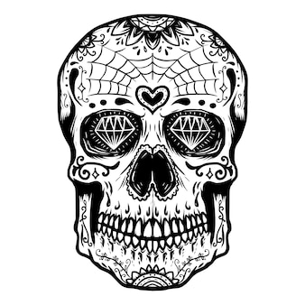 Hand drawn sugar skull  on white background. day of the dead.  element for poster, t-shirt.  illustration