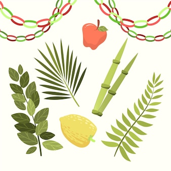 Hand drawn sukkot elements collection