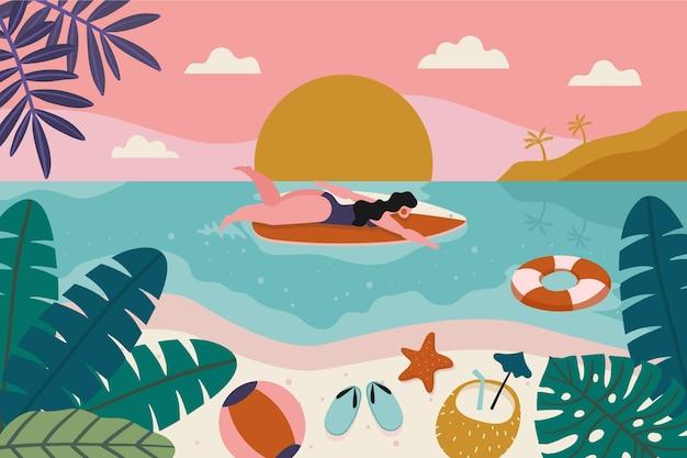 Ручной обращается летний фон для видеозвонков