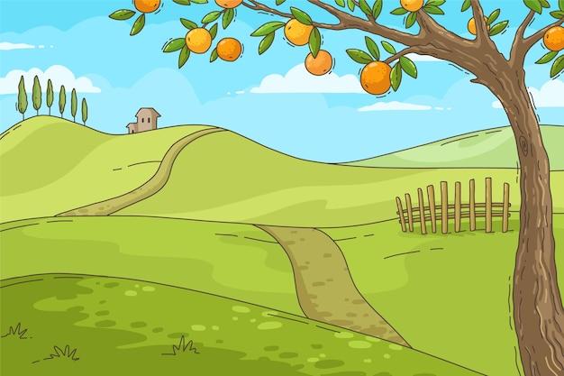 ビデオ通話の手描きの夏の背景