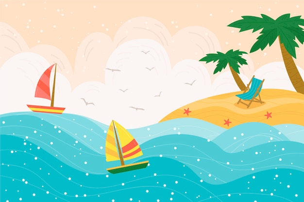 Hand-drawn summer background style