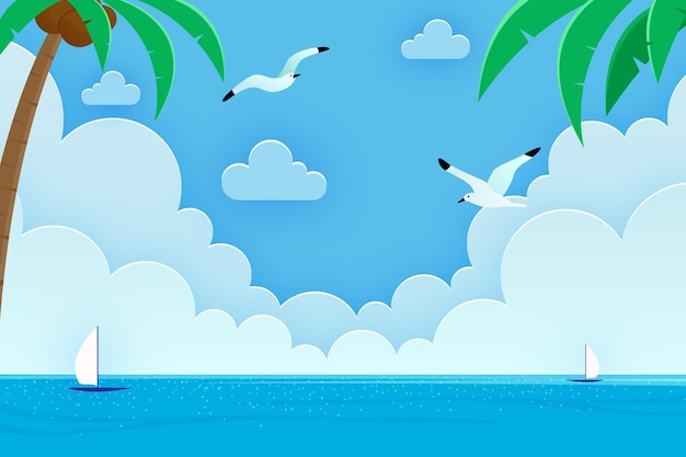 Hand drawn summer background for videocalls Free Vector