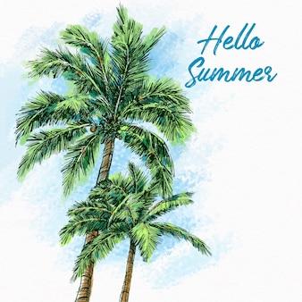 手描き夏の背景