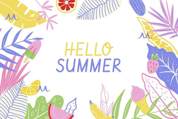 손으로 그린 여름 배경