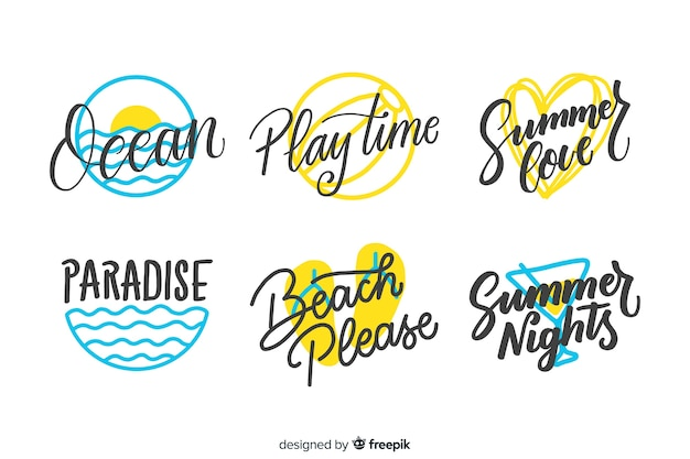 Hand drawn summer badge collectio