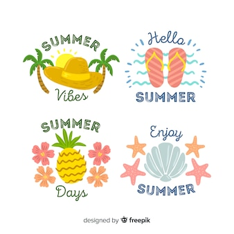 Hand drawn summer badge collection