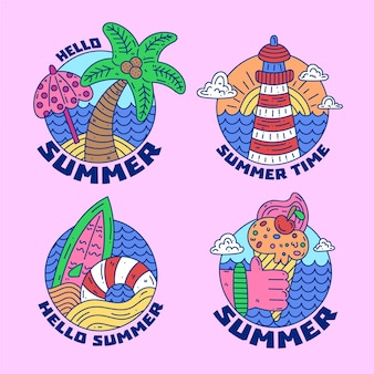 Hand drawn summer badges collection