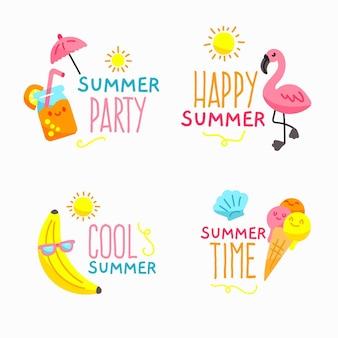 Коллекция рисованной летних значков