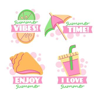 Hand drawn summer badges concept