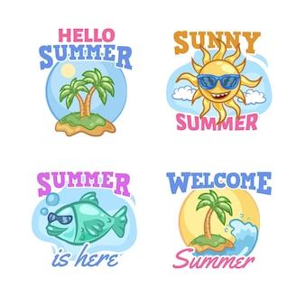 Hand drawn summer badges