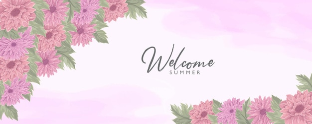 美しい菊の花のフレームを使った手描きの夏のバナーデザイン