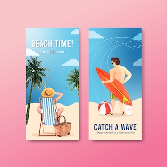 Hand drawn summer banner set