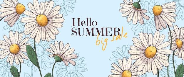 손으로 그린 된 여름 배너