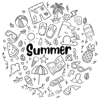 Hand drawn summer beach doodles isolated vector symbols and elements set