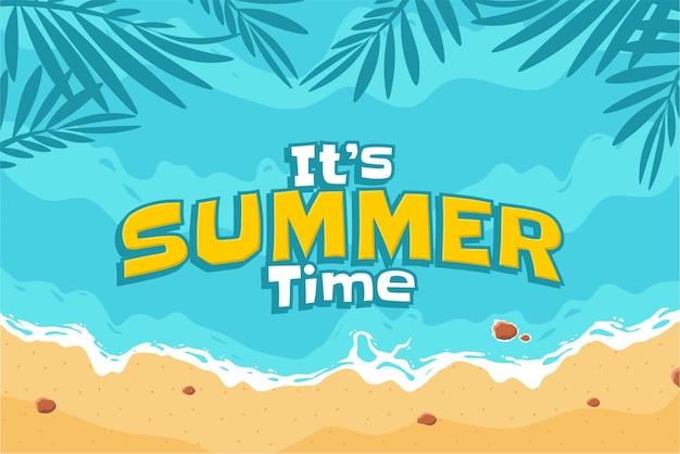 手描きの夏のビーチ熱帯ヤシの背景ベクトル