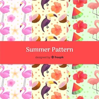 Hand drawn summer birds pattern collection