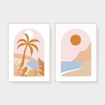Hand drawn summer boho abstract pictures with palm sun and sea vector illustration