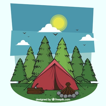 Hand drawn summer camp background with tent and pines
