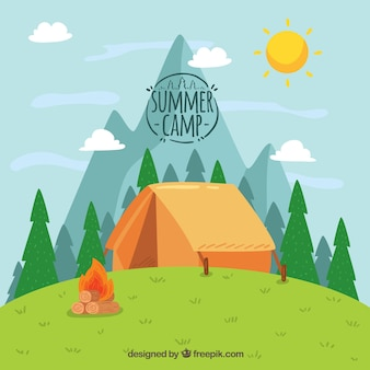 Hand drawn summer camp background with tent on hill