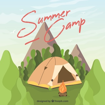Hand drawn summer camp background with tent in mountains