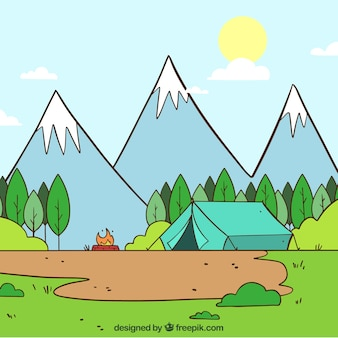 Hand drawn summer camp background with tent and three mountains