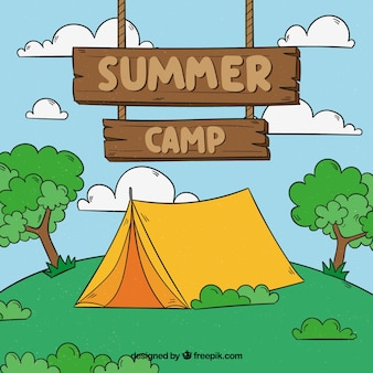 Hand drawn summer camp background with wooden sign