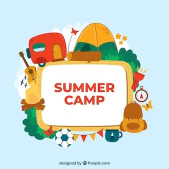 Hand drawn summer camp background