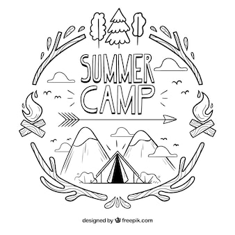 Hand drawn summer camp background