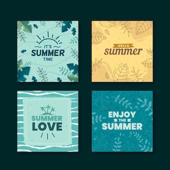 Tema della collezione di carte estive disegnate a mano
