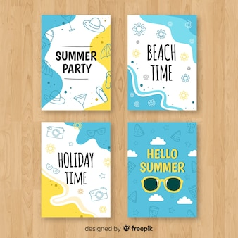 Hand drawn summer card collection