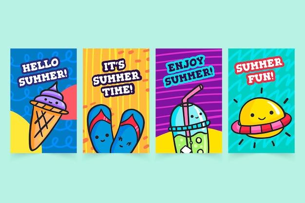 손으로 그린 여름 카드 팩 템플릿