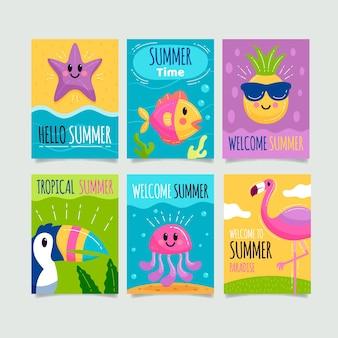 Hand drawn summer card set template
