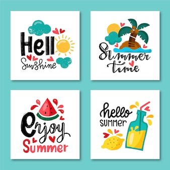 Hand drawn summer card template collection
