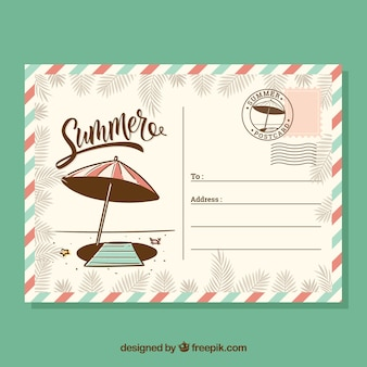 Hand drawn summer card template in retro style