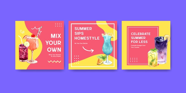 Hand drawn summer card template set