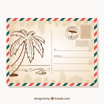 Hand drawn summer card template in vintage style