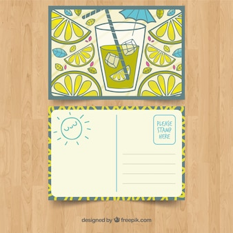 Hand drawn summer card template with lemonade