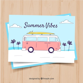 Hand drawn summer card template with retro bus