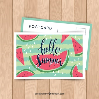 Hand drawn summer card template with watermelon