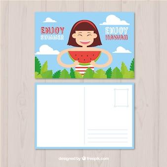 Modello di carta estate disegnata a mano con donna che mangia anguria