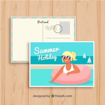 Hand drawn summer card template with woman