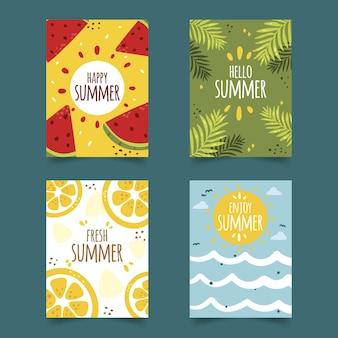 Нарисованные вручную летние шаблоны открыток