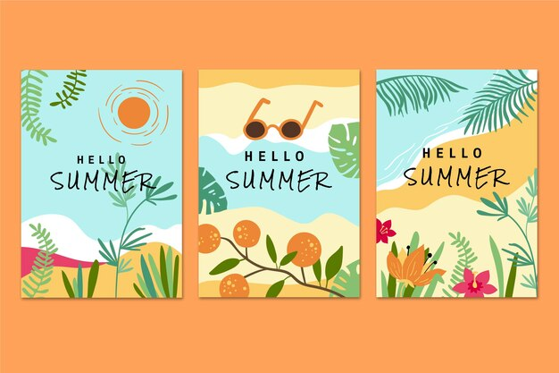 Коллекция рисованной летних открыток