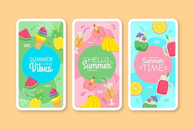 手描きの夏のカードコレクション