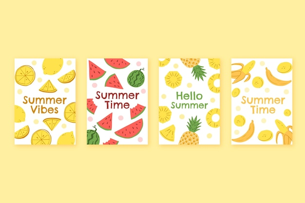 Hand drawn summer cards collection