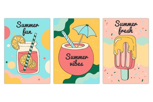 손으로 그린 여름 카드 컬렉션