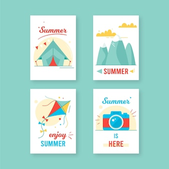Hand drawn summer cards pack
