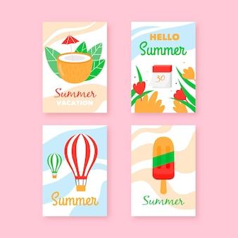 Hand drawn summer cards set