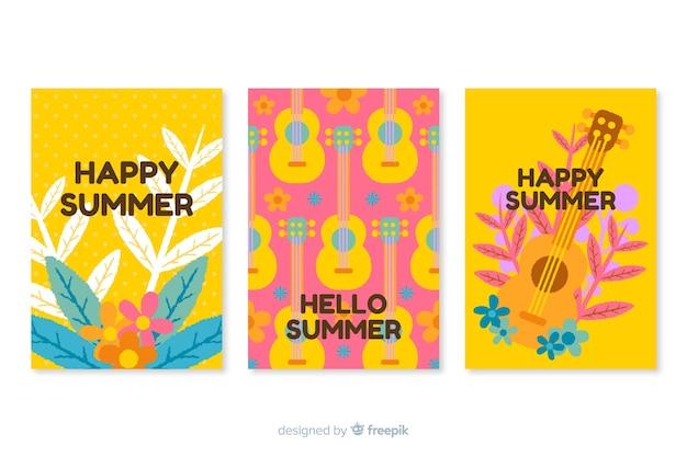 Hand drawn summer cards
