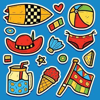손으로 그린 여름 만화 낙서 스티커 디자인
